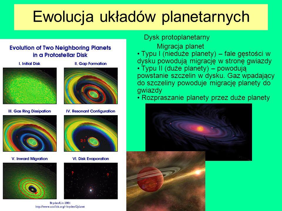 Dysk protoplanetarny Migracja planet Typu I (nieduże planety) – fale gęstości w dysku powodują migrację w stronę gwiazdy Typu II (duże planety) – powo