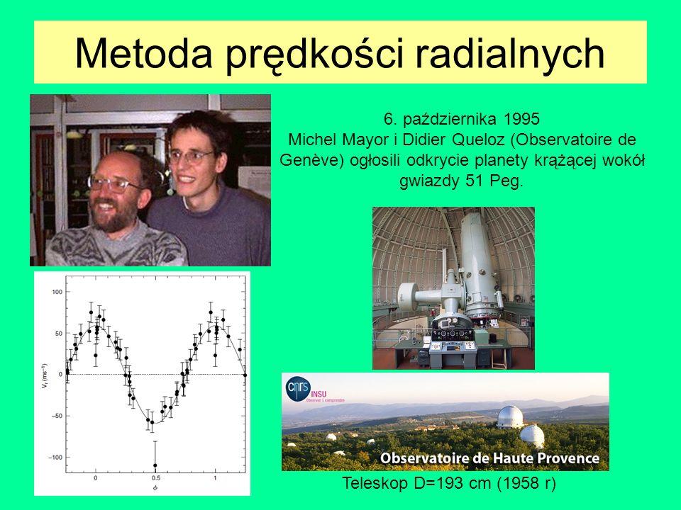 Metoda prędkości radialnych 51 Peg b, e0, M=0.44 M J, a=0.05 au 70 Virg b, e0.4, M=7.4 M J, a=0.48 au 16 Cyg b, e0.69, M=1.7 M J, a=1.7 au