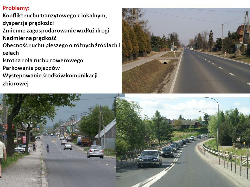 Problemy: Konflikt ruchu tranzytowego z lokalnym, dyspersja prędkości Zmienne zagospodarowanie wzdłuż drogi Nadmierna prędkość Obecność ruchu pieszego