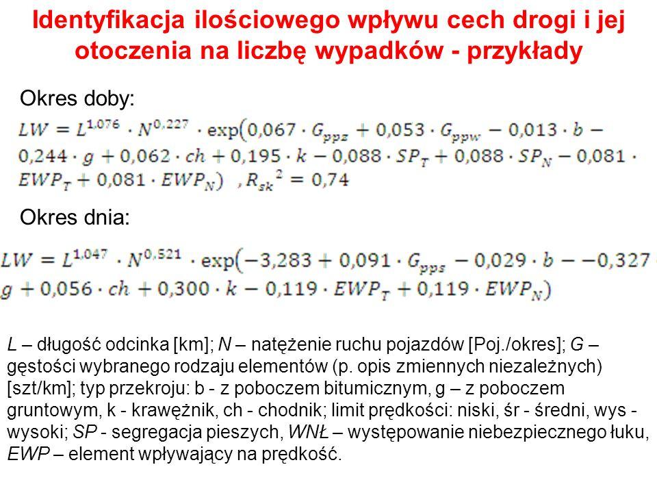 Identyfikacja ilościowego wpływu cech drogi i jej otoczenia na liczbę wypadków - przykłady Okres doby: Okres dnia: L – długość odcinka [km]; N – natęż