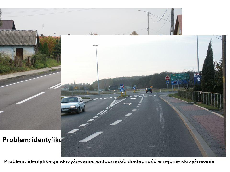 Problem: identyfikacja skrzyżowania Problem: identyfikacja skrzyżowania, widoczność, dostępność w rejonie skrzyżowania