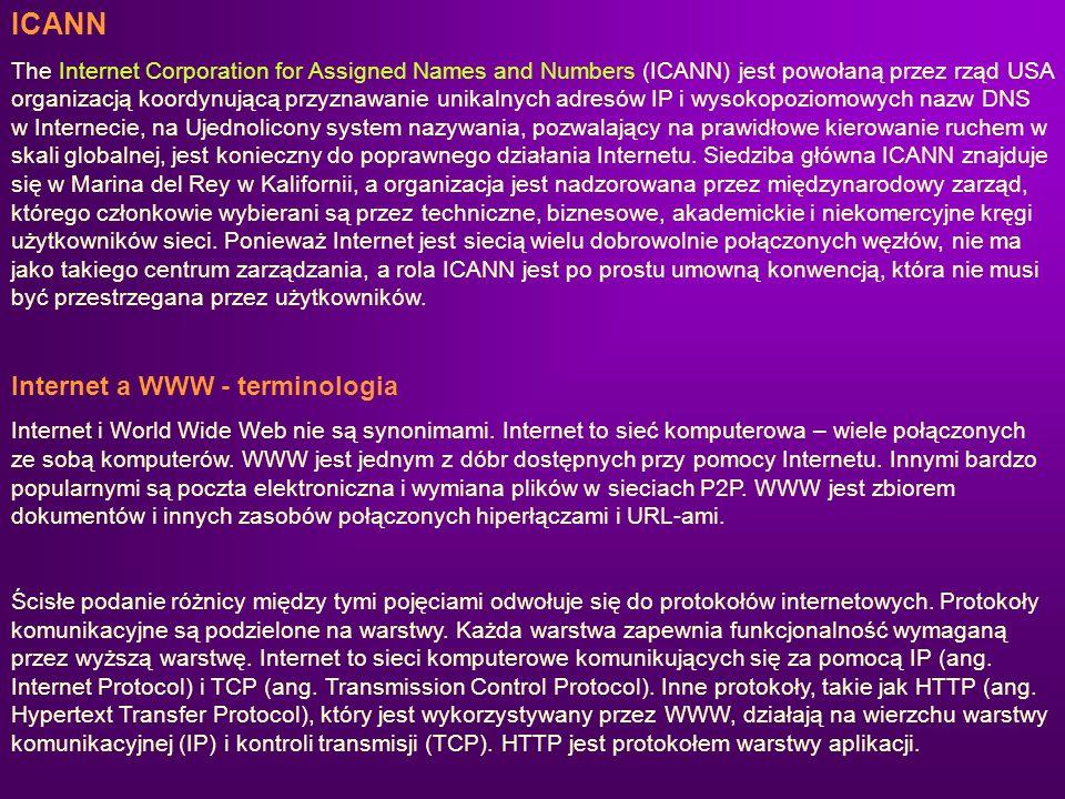 ICANN The Internet Corporation for Assigned Names and Numbers (ICANN) jest powołaną przez rząd USA organizacją koordynującą przyznawanie unikalnych ad