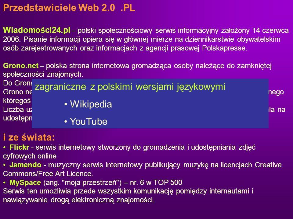 Przedstawiciele Web 2.0.PL Wiadomości24.pl – polski społecznościowy serwis informacyjny założony 14 czerwca 2006. Pisanie informacji opiera się w głów