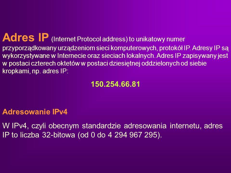 Adres IP (Internet Protocol address) to unikatowy numer przyporządkowany urządzeniom sieci komputerowych, protokół IP. Adresy IP są wykorzystywane w I