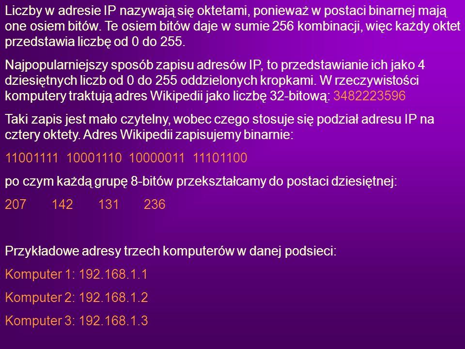Liczby w adresie IP nazywają się oktetami, ponieważ w postaci binarnej mają one osiem bitów. Te osiem bitów daje w sumie 256 kombinacji, więc każdy ok