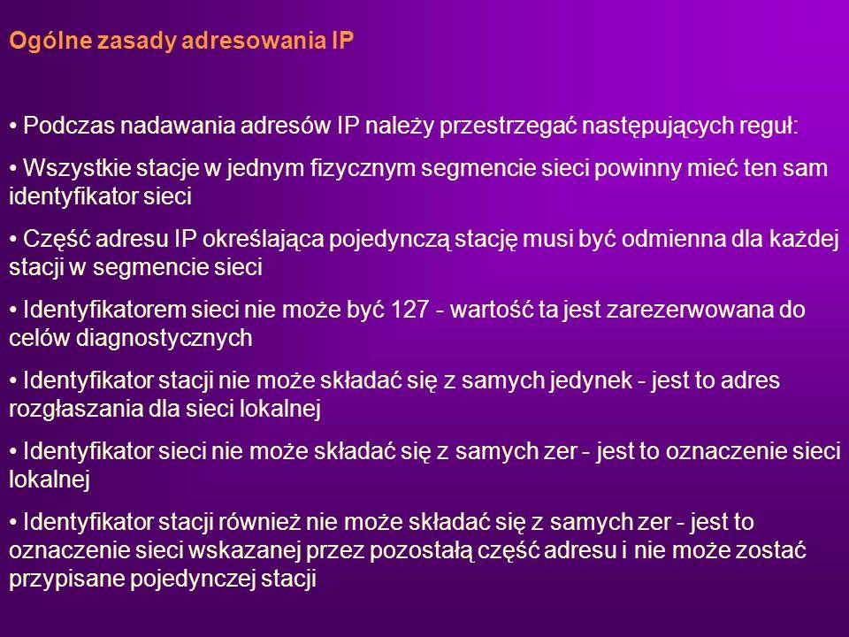 Ogólne zasady adresowania IP Podczas nadawania adresów IP należy przestrzegać następujących reguł: Wszystkie stacje w jednym fizycznym segmencie sieci