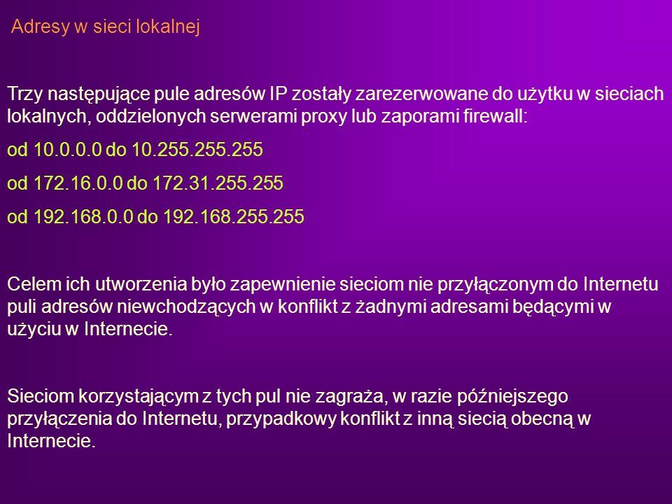 Adresy w sieci lokalnej Trzy następujące pule adresów IP zostały zarezerwowane do użytku w sieciach lokalnych, oddzielonych serwerami proxy lub zapora