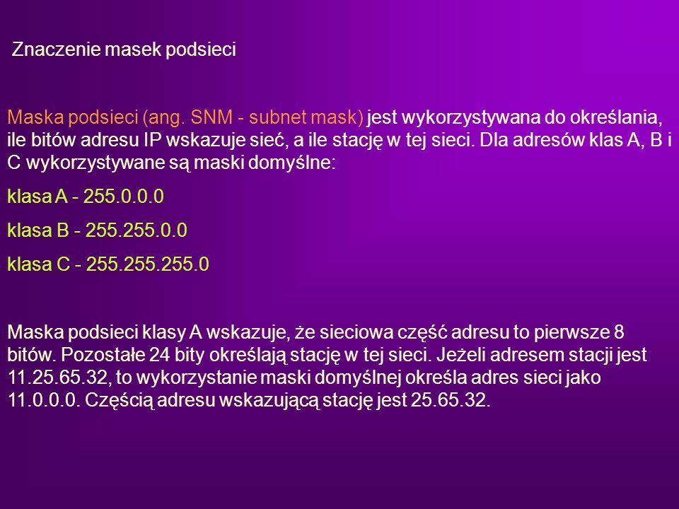 Znaczenie masek podsieci Maska podsieci (ang. SNM - subnet mask) jest wykorzystywana do określania, ile bitów adresu IP wskazuje sieć, a ile stację w
