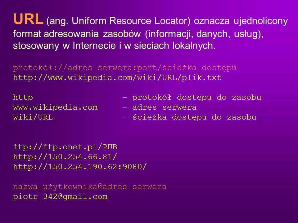 URL (ang. Uniform Resource Locator) oznacza ujednolicony format adresowania zasobów (informacji, danych, usług), stosowany w Internecie i w sieciach l