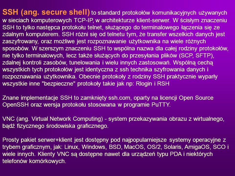 SSH (ang. secure shell) to standard protokołów komunikacyjnych używanych w sieciach komputerowych TCP-IP, w architekturze klient-serwer. W ścisłym zna