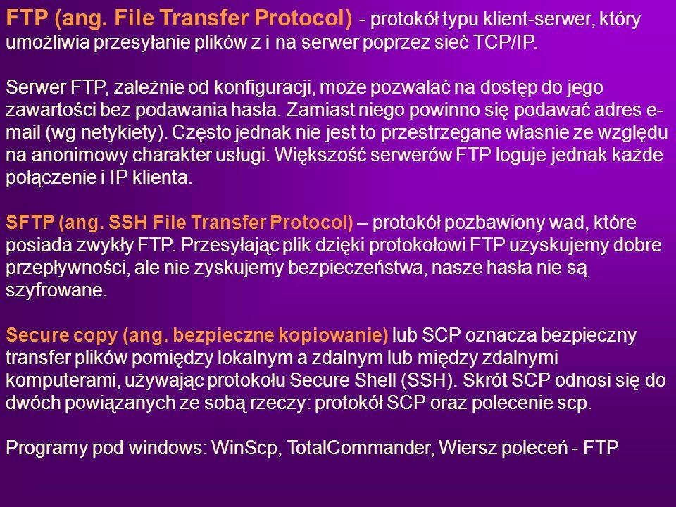 FTP (ang. File Transfer Protocol) - protokół typu klient-serwer, który umożliwia przesyłanie plików z i na serwer poprzez sieć TCP/IP. Serwer FTP, zal