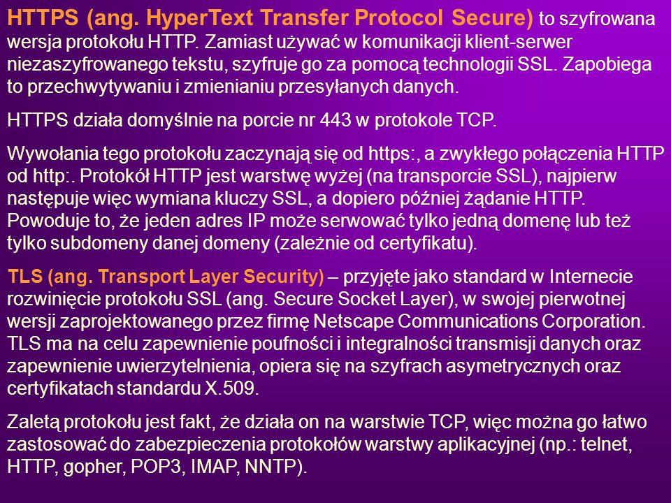 HTTPS (ang. HyperText Transfer Protocol Secure) to szyfrowana wersja protokołu HTTP. Zamiast używać w komunikacji klient-serwer niezaszyfrowanego teks