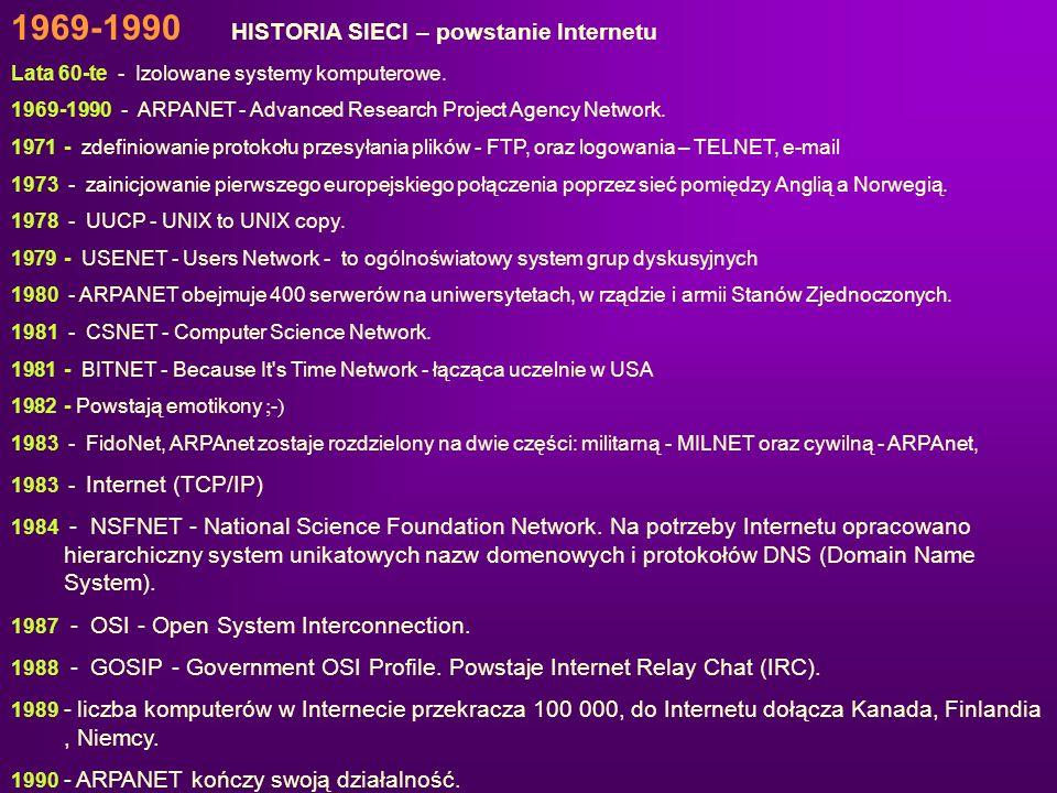 1969-1990 HISTORIA SIECI – powstanie Internetu Lata 60-te - Izolowane systemy komputerowe. 1969-1990 - ARPANET - Advanced Research Project Agency Netw