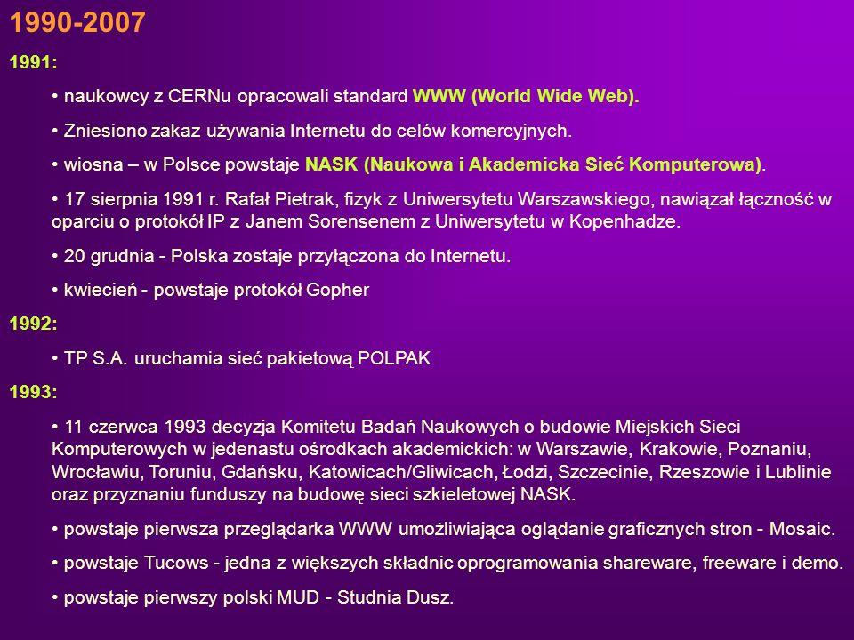 1990-2007 1991: naukowcy z CERNu opracowali standard WWW (World Wide Web). Zniesiono zakaz używania Internetu do celów komercyjnych. wiosna – w Polsce