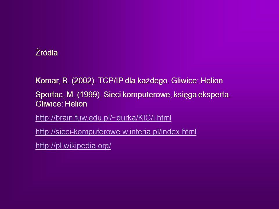Źródła Komar, B. (2002). TCP/IP dla każdego. Gliwice: Helion Sportac, M. (1999). Sieci komputerowe, księga eksperta. Gliwice: Helion http://brain.fuw.