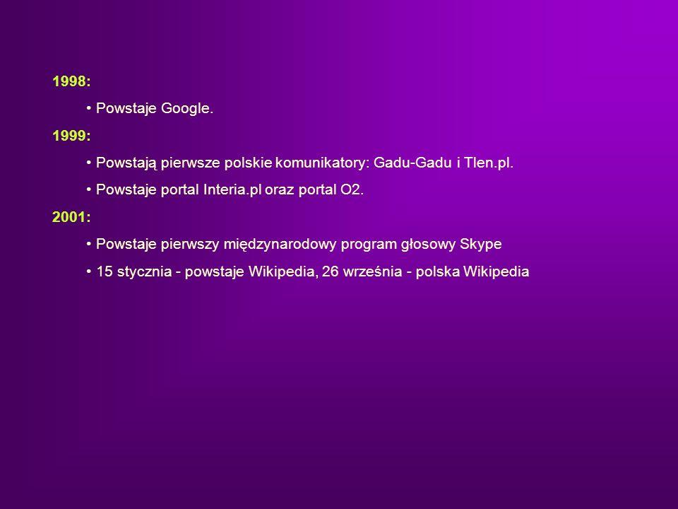 1998: Powstaje Google. 1999: Powstają pierwsze polskie komunikatory: Gadu-Gadu i Tlen.pl. Powstaje portal Interia.pl oraz portal O2. 2001: Powstaje pi
