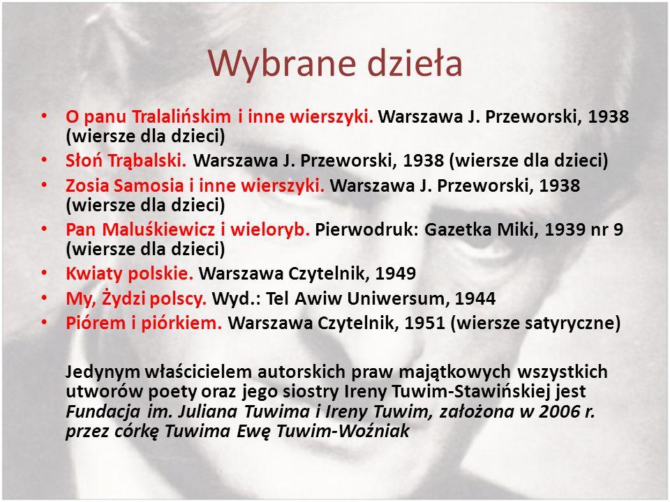 Wybrane dzieła O panu Tralalińskim i inne wierszyki. Warszawa J. Przeworski, 1938 (wiersze dla dzieci) Słoń Trąbalski. Warszawa J. Przeworski, 1938 (w
