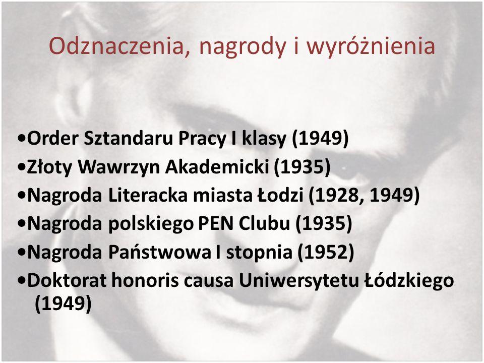 Odznaczenia, nagrody i wyróżnienia Order Sztandaru Pracy I klasy (1949) Złoty Wawrzyn Akademicki (1935) Nagroda Literacka miasta Łodzi (1928, 1949) Na