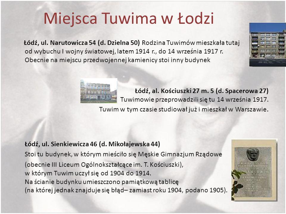Miejsca Tuwima w Łodzi Łódź, ul. Narutowicza 54 (d. Dzielna 50) Rodzina Tuwimów mieszkała tutaj od wybuchu I wojny światowej, latem 1914 r., do 14 wrz