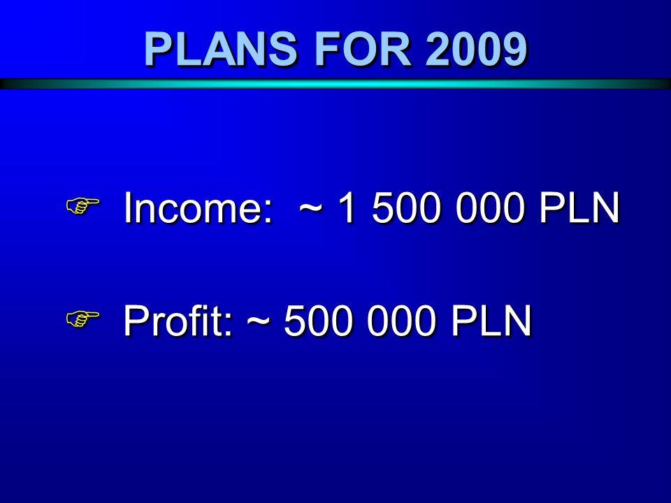 PLANS FOR 2009 Income: ~ 1 500 000 PLN Income: ~ 1 500 000 PLN Profit: ~ 500 000 PLN Profit: ~ 500 000 PLN Income: ~ 1 500 000 PLN Income: ~ 1 500 000 PLN Profit: ~ 500 000 PLN Profit: ~ 500 000 PLN