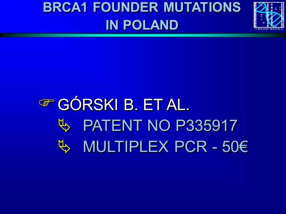 BRCA1 FOUNDER MUTATIONS IN POLAND GÓRSKI B. ET AL.