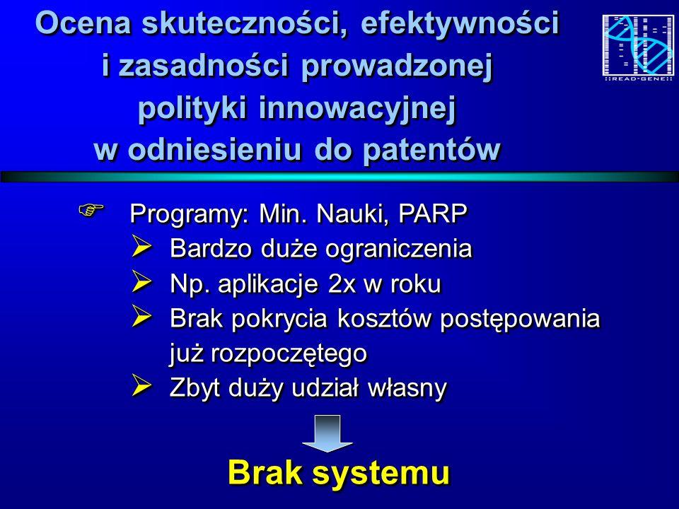 Ocena skuteczności, efektywności i zasadności prowadzonej polityki innowacyjnej w odniesieniu do patentów Programy: Min.