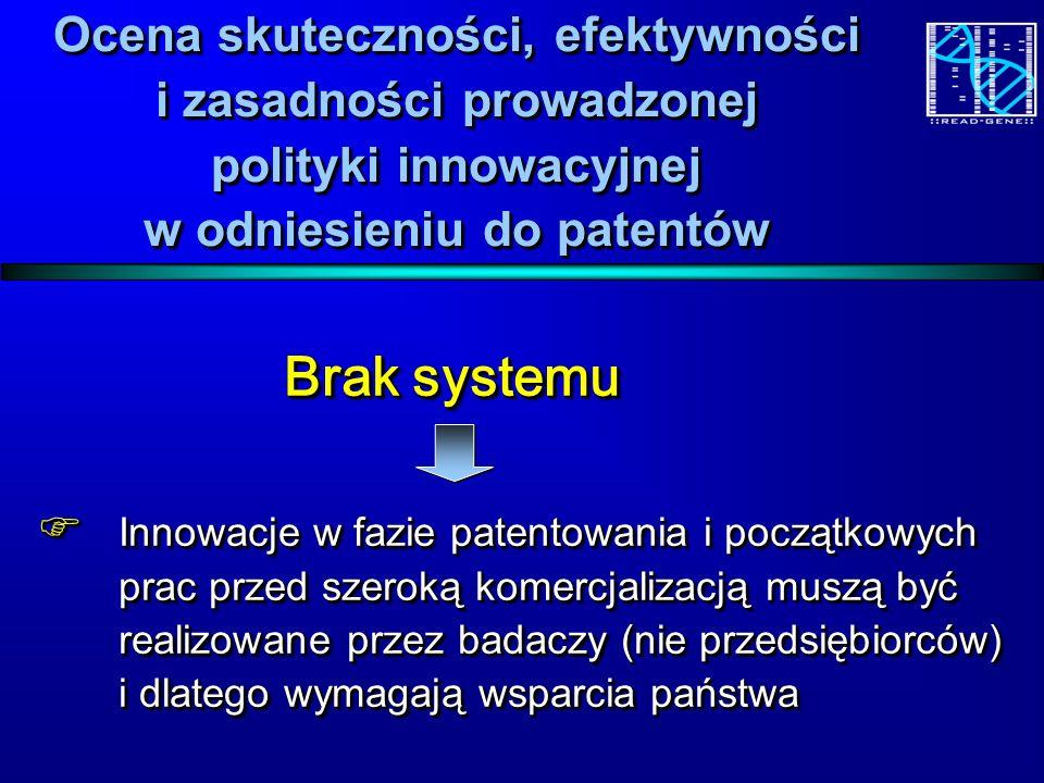 Ocena skuteczności, efektywności i zasadności prowadzonej polityki innowacyjnej w odniesieniu do patentów Brak systemu Brak systemu Innowacje w fazie patentowania i początkowych prac przed szeroką komercjalizacją muszą być realizowane przez badaczy (nie przedsiębiorców) i dlatego wymagają wsparcia państwa Innowacje w fazie patentowania i początkowych prac przed szeroką komercjalizacją muszą być realizowane przez badaczy (nie przedsiębiorców) i dlatego wymagają wsparcia państwa Brak systemu Brak systemu Innowacje w fazie patentowania i początkowych prac przed szeroką komercjalizacją muszą być realizowane przez badaczy (nie przedsiębiorców) i dlatego wymagają wsparcia państwa Innowacje w fazie patentowania i początkowych prac przed szeroką komercjalizacją muszą być realizowane przez badaczy (nie przedsiębiorców) i dlatego wymagają wsparcia państwa