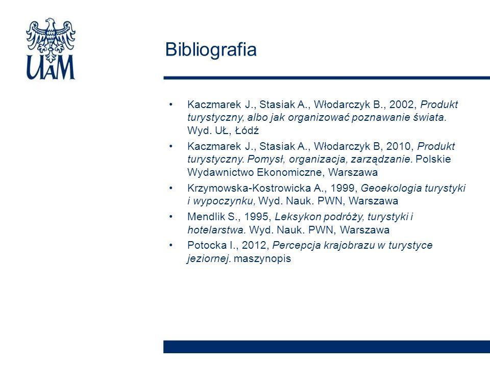 Kaczmarek J., Stasiak A., Włodarczyk B., 2002, Produkt turystyczny, albo jak organizować poznawanie świata. Wyd. UŁ, Łódź Kaczmarek J., Stasiak A., Wł