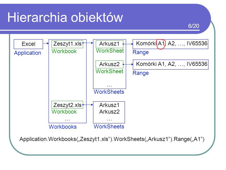 Hierarchia obiektów Excel Zeszyt1.xls Zeszyt2.xls … Arkusz1 Arkusz2 … Arkusz1 Arkusz2 … Komórki A1, A2, …, IV65536 Application Workbooks Range WorkShe