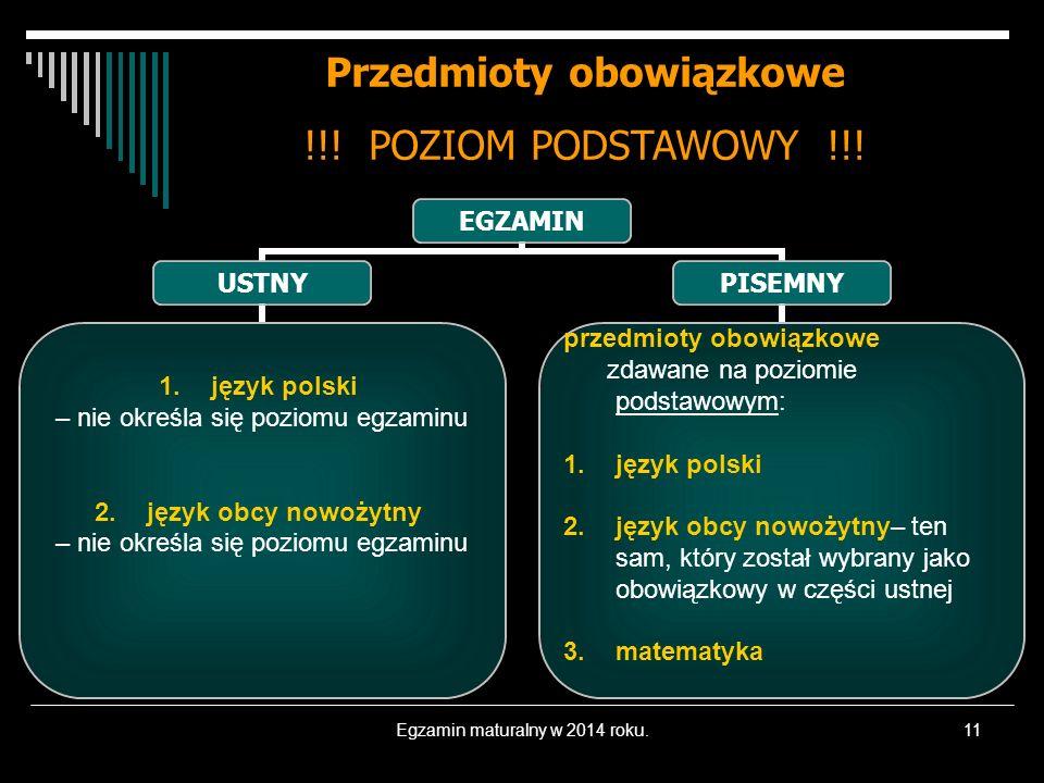 Egzamin maturalny w 2014 roku.11 Przedmioty obowiązkowe !!! POZIOM PODSTAWOWY !!! EGZAMIN USTNY 1.język polski – nie określa się poziomu egzaminu 1.ję