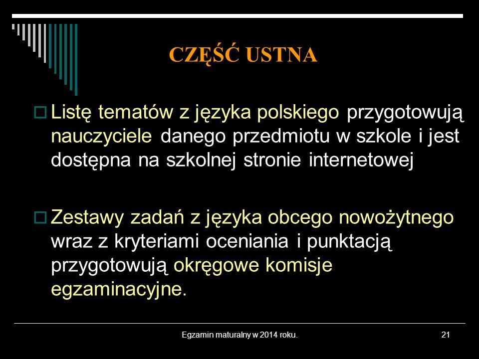 Egzamin maturalny w 2014 roku.21 Listę tematów z języka polskiego przygotowują nauczyciele danego przedmiotu w szkole i jest dostępna na szkolnej stro