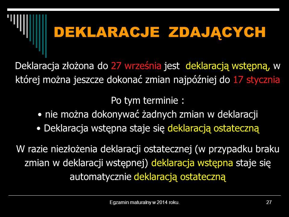 Egzamin maturalny w 2014 roku.27 DEKLARACJE ZDAJĄCYCH Deklaracja złożona do 27 września jest deklaracją wstępną, w której można jeszcze dokonać zmian