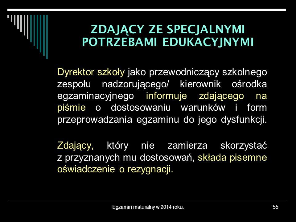 Egzamin maturalny w 2014 roku.55 Dyrektor szkoły jako przewodniczący szkolnego zespołu nadzorującego/ kierownik ośrodka egzaminacyjnego informuje zdaj