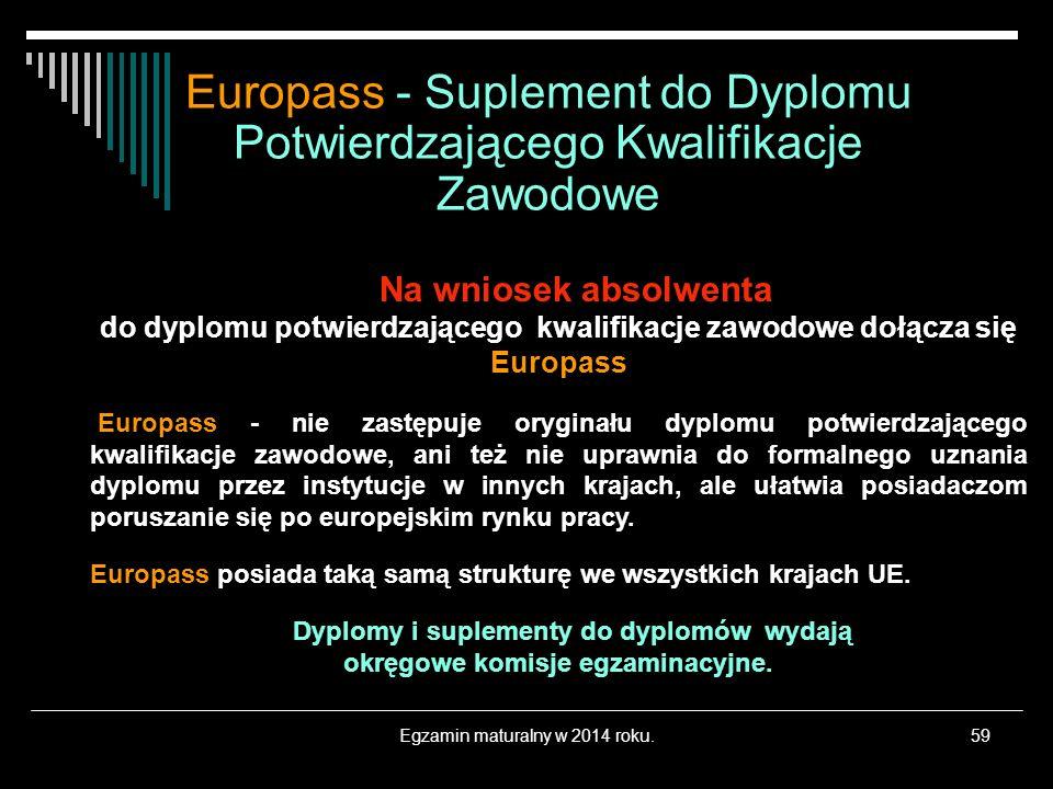 Egzamin maturalny w 2014 roku.59 Na wniosek absolwenta do dyplomu potwierdzającego kwalifikacje zawodowe dołącza się Europass Europass - nie zastępuje