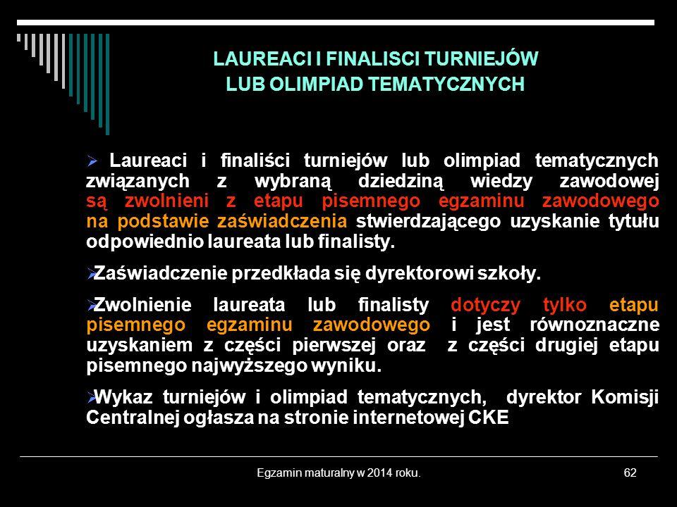 Egzamin maturalny w 2014 roku.62 LAUREACI I FINALISCI TURNIEJÓW LUB OLIMPIAD TEMATYCZNYCH Laureaci i finaliści turniejów lub olimpiad tematycznych zwi