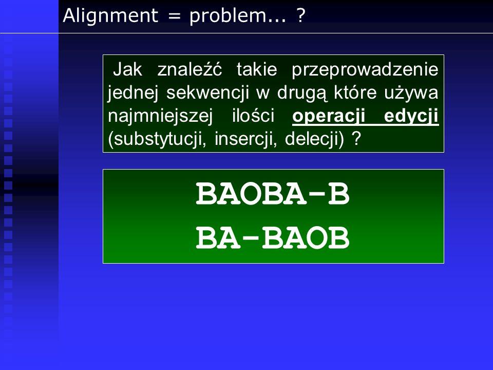 Alignment = problem... ? Jak znaleźć takie przeprowadzenie jednej sekwencji w drugą które używa najmniejszej ilości operacji edycji (substytucji, inse