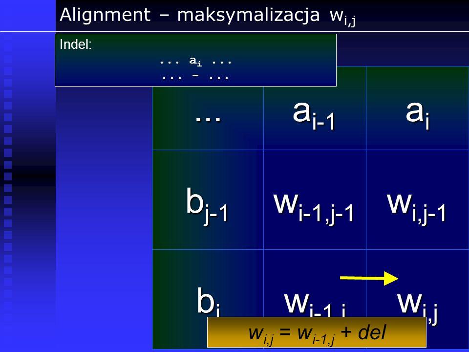 Alignment – maksymalizacja w i,j... a i-1 aiaiaiai b j-1 w i-1,j-1 w i,j-1 bjbjbjbj w i-1,j w i,j Indel:... a i...... -... w i,j = w i-1,j + del