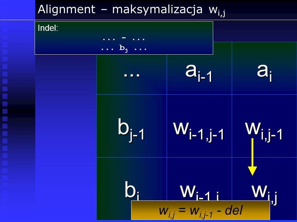 Alignment – maksymalizacja w i,j... a i-1 aiaiaiai b j-1 w i-1,j-1 w i,j-1 bjbjbjbj w i-1,j w i,j Indel:... -...... b j... w i,j = w i,j-1 - del