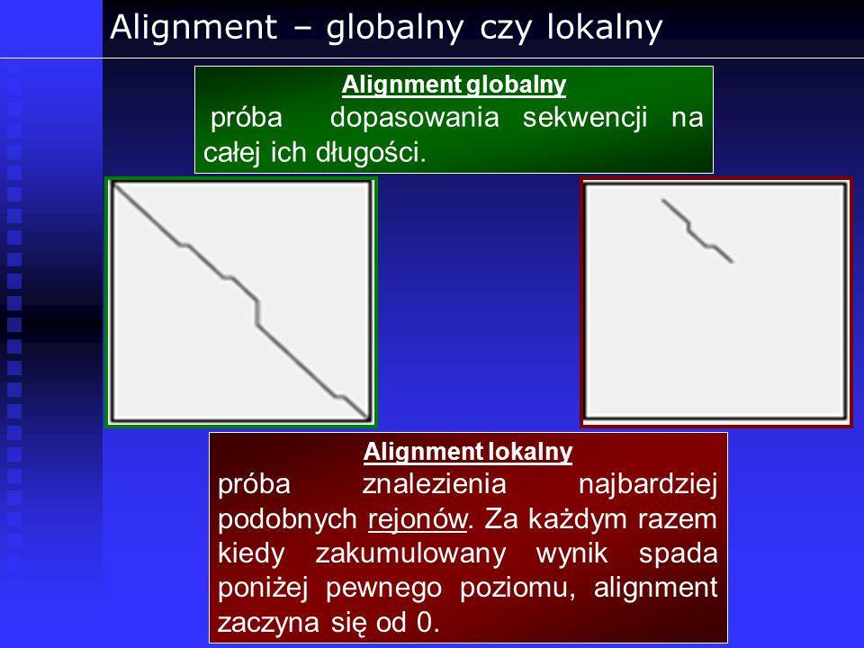 Alignment – globalny czy lokalny Alignment globalny próba dopasowania sekwencji na całej ich długości. Alignment lokalny próba znalezienia najbardziej