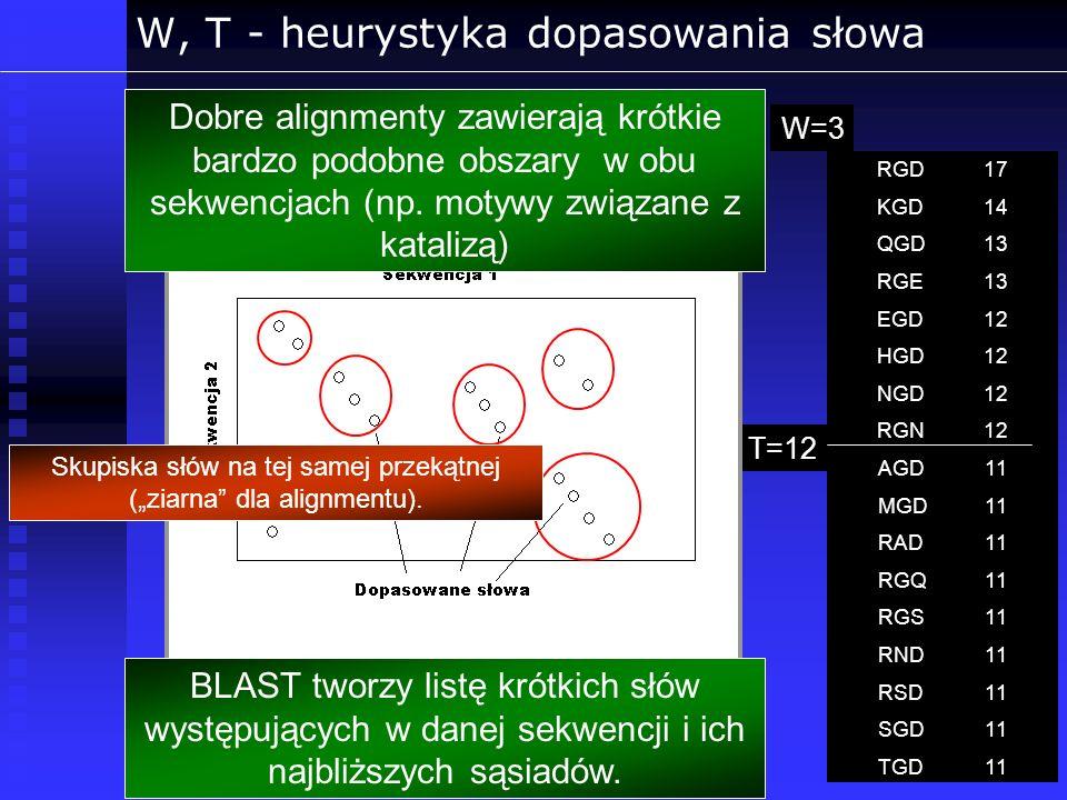 W, T - heurystyka dopasowania słowa RGD17 KGD14 QGD13 RGE13 EGD12 HGD12 NGD12 RGN12 AGD11 MGD11 RAD11 RGQ11 RGS11 RND11 RSD11 SGD11 TGD11 T=12 W=3W=3