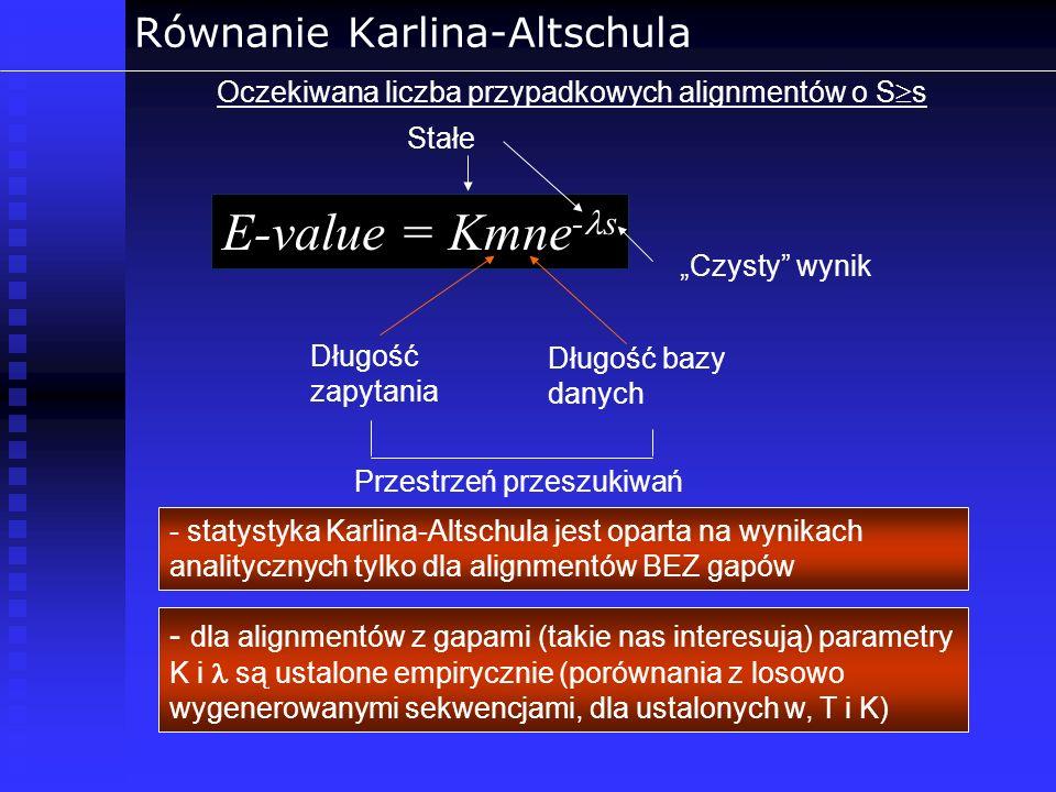 Równanie Karlina-Altschula Oczekiwana liczba przypadkowych alignmentów o S s - statystyka Karlina-Altschula jest oparta na wynikach analitycznych tylk
