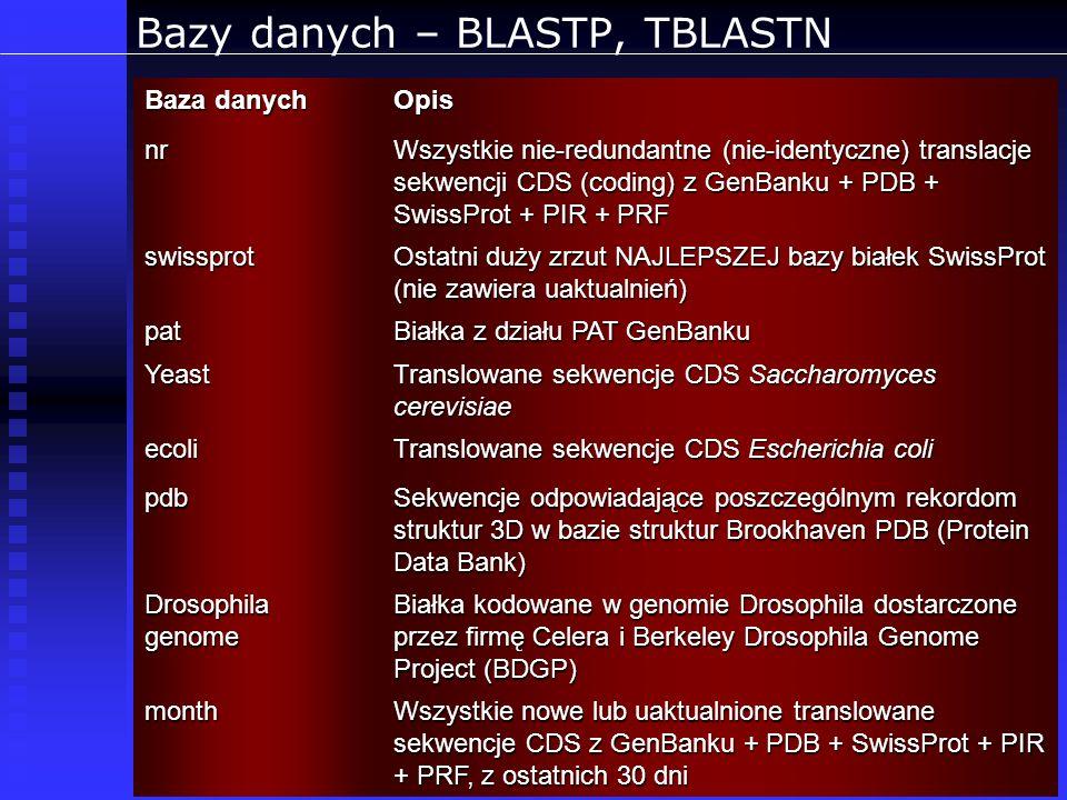 Bazy danych – BLASTP, TBLASTN Baza danych Opis nr Wszystkie nie-redundantne (nie-identyczne) translacje sekwencji CDS (coding) z GenBanku + PDB + Swis