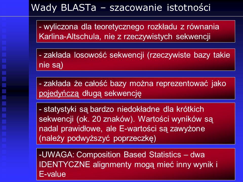 Wady BLASTa – szacowanie istotności - wyliczona dla teoretycznego rozkładu z równania Karlina-Altschula, nie z rzeczywistych sekwencji - zakłada losow
