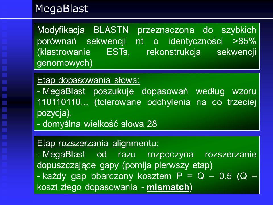 MegaBlast Modyfikacja BLASTN przeznaczona do szybkich porównań sekwencji nt o identyczności >85% (klastrowanie ESTs, rekonstrukcja sekwencji genomowyc