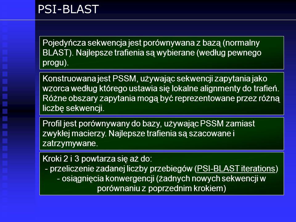 PSI-BLAST Pojedyńcza sekwencja jest porównywana z bazą (normalny BLAST). Najlepsze trafienia są wybierane (według pewnego progu). Konstruowana jest PS