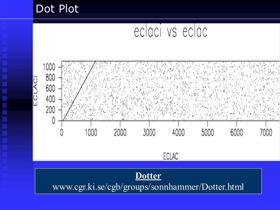 Dot Plot Dotter www.cgr.ki.se/cgb/groups/sonnhammer/Dotter.html