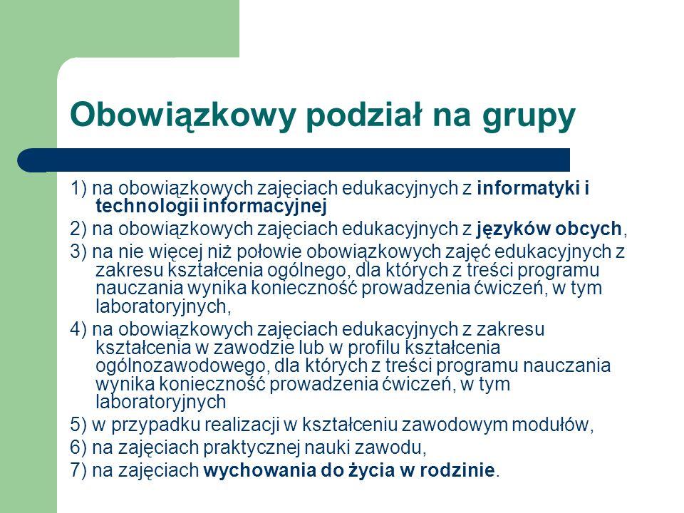 Obowiązkowy podział na grupy 1) na obowiązkowych zajęciach edukacyjnych z informatyki i technologii informacyjnej 2) na obowiązkowych zajęciach edukac