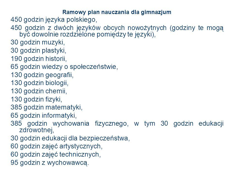 Ramowy plan nauczania dla gimnazjum 450 godzin języka polskiego, 450 godzin z dwóch języków obcych nowożytnych (godziny te mogą być dowolnie rozdzielo