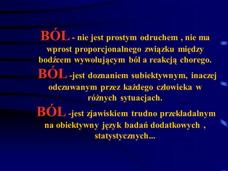 OSTRY BÓL jest nieprzyjemnym zmysłowym i emocjonalnym odczuciem wywołanym przez istniejące lub też potencjalnie zagrażające uszkodzenie tkanek/narządów, jest odczuciem któremu towarzyszy autonomiczna, emocjonalna i behawioralna odpowiedź ustroju Ból ostry J.Wordliczek.J.Dobrogowski Funkcja biologiczna: ostrzegająco-ochronna obronno-zabezpieczająca Ostry ból inicjuje odpowiedź która pomaga ustrojowi utrzymać homeostazą w trakcie rozwoju procesu patologicznego.