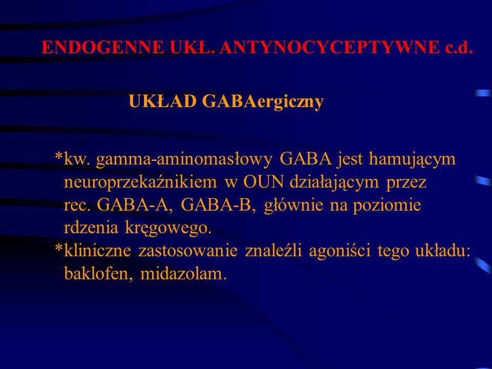 ENDOGENNE UKŁ. ANTYNOCYCEPTYWNE c.d. UKŁAD GABAergiczny *kw. gamma-aminomasłowy GABA jest hamującym neuroprzekaźnikiem w OUN działającym przez rec. GA